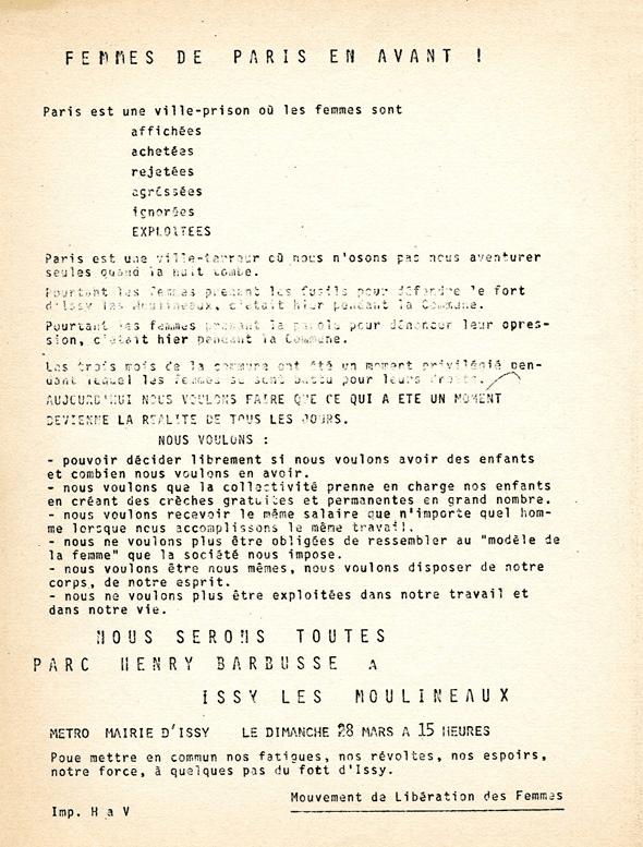 Tract pour fêter le 28 mars l'anniversaire de la Commune de Paris, 1971