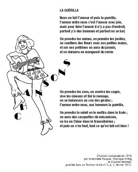 Chanson composée en 1970 par Antoinette Fouque, Monique Wittig et d'autres femmes, publié dans Le Torchon brûle n°3