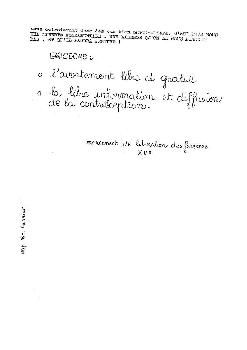 Tract non daté, postérieur au meeting de Laissez-les-vivre du 5 mars 1971