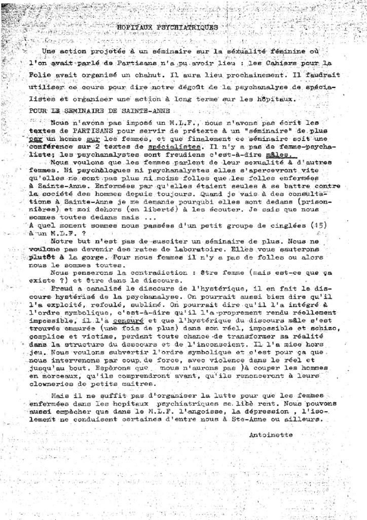 Bulletin du MLF n°5, mi-février 1971 (extrait 2)