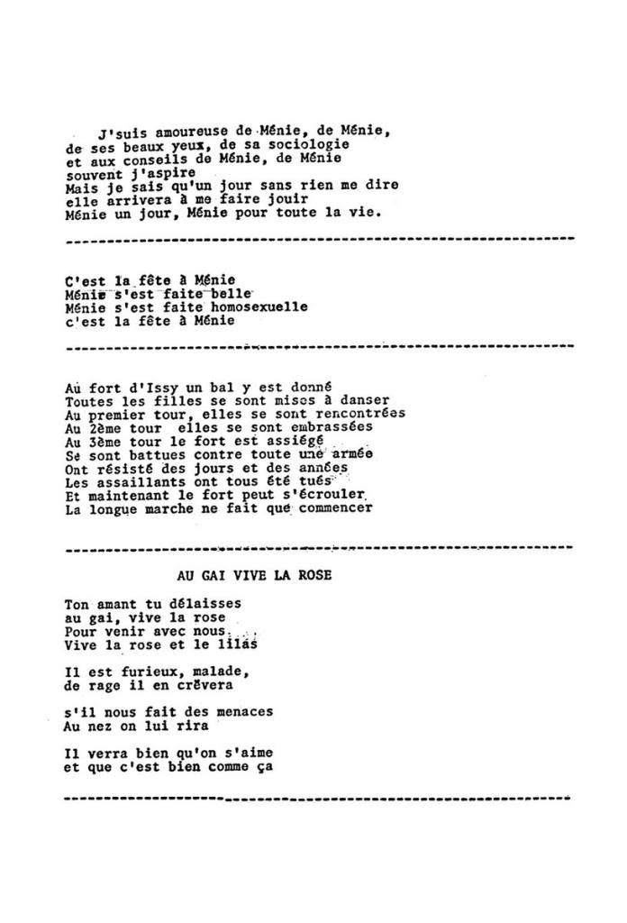 Chansons composées par des femmes du MLF à l'occasion des manifestations de mars 1971: émission de Ménie Grégoire sur l'homosexualité, centenaire de la Commune à Issy-les-Moulineaux.