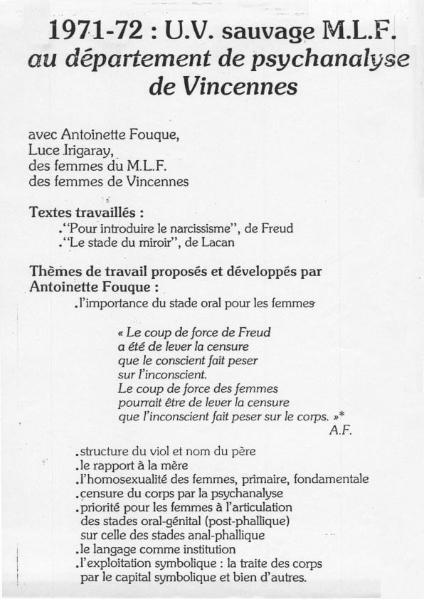 Tract annonçant l'UV de psychanalyse de Vincennes