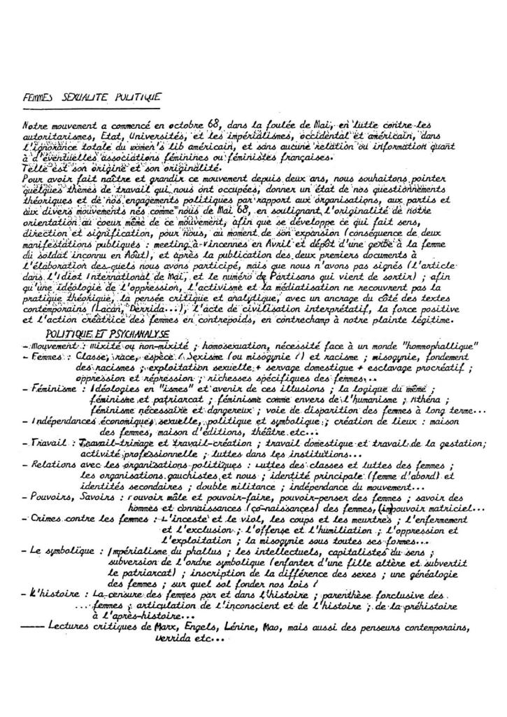 """Texte dit """"tract programmatique"""", 1970"""